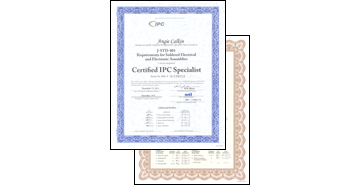 IPC-A-610 and J-STD-001 Training Certificates