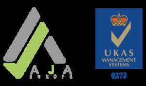 AJA Europe and UKAS Logos